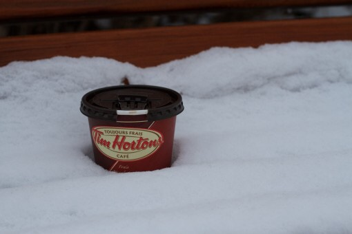 A Tim Horton's coffee cup cooling in a thick bed of clean snow.
