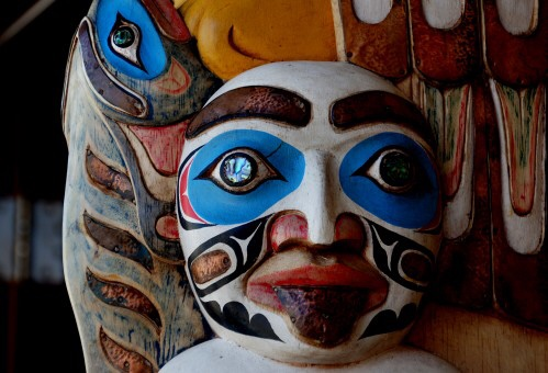 A brightly painted Native American mask.