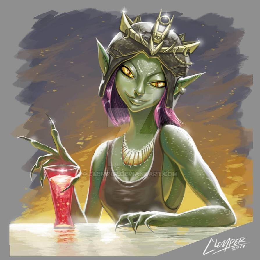 Reptilian mademoiselle with a bright red drink.