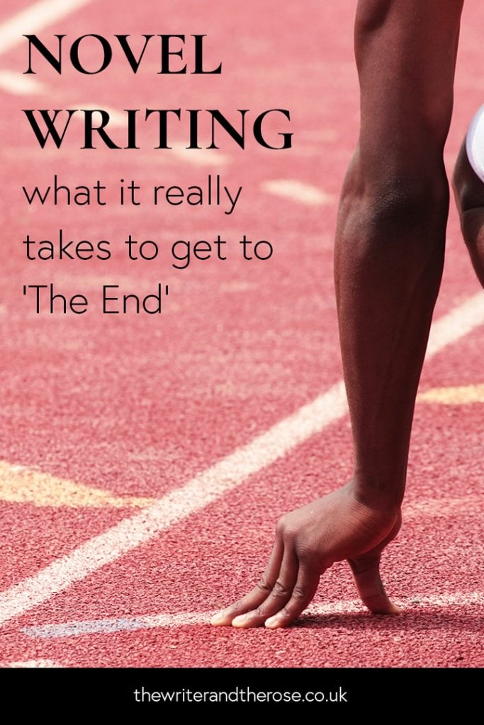 "The Writer and the Rose's ""Novel Writing- What It Really Takes to Get to The End'"" with a runner on a starting line."