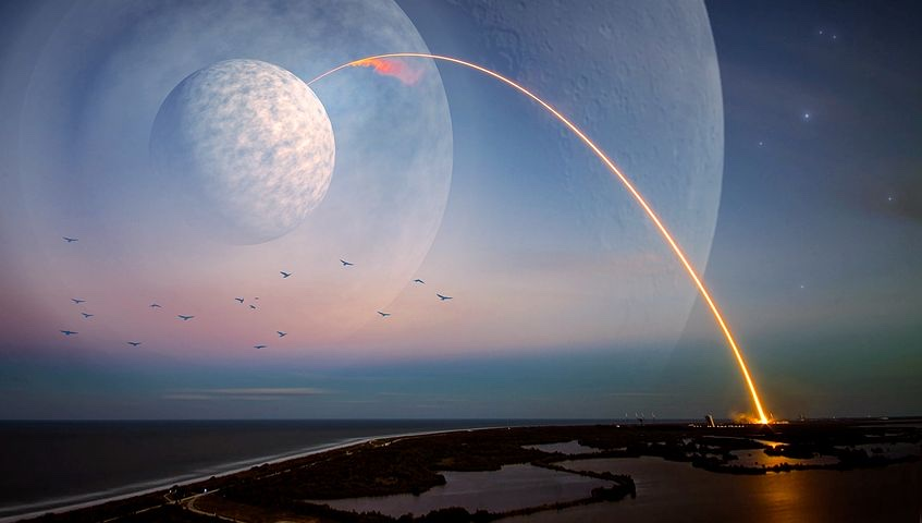 A curved arc of light stretching from a large moon to the surface of a planet.