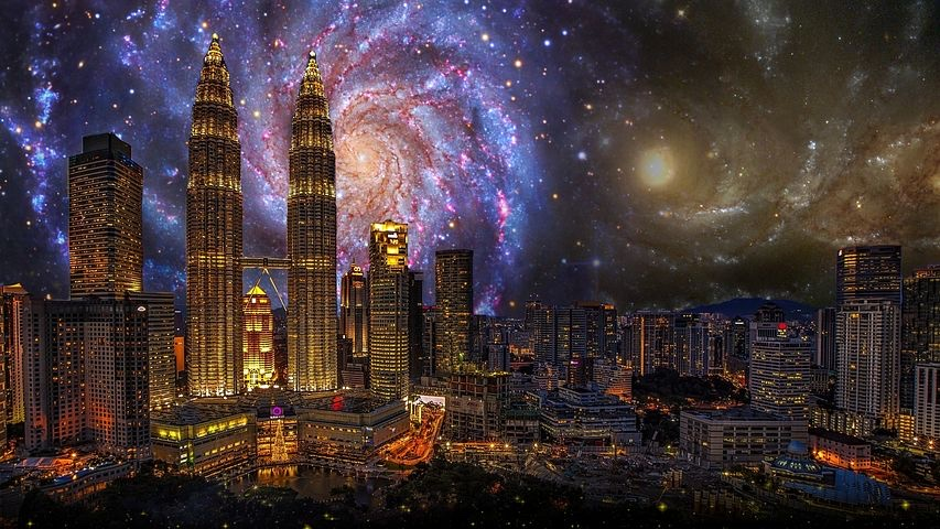Swirling sky behind a futuristic cityscape with towering skyscrapers glittering with light.