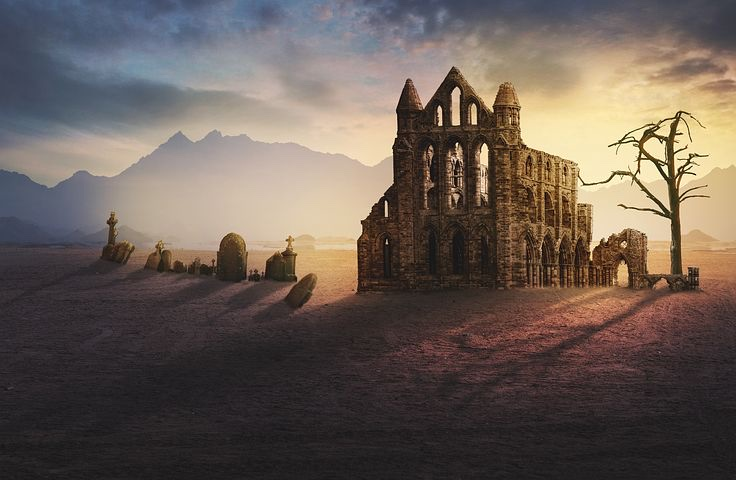 Fantasy castle backlit by pastel sunset.