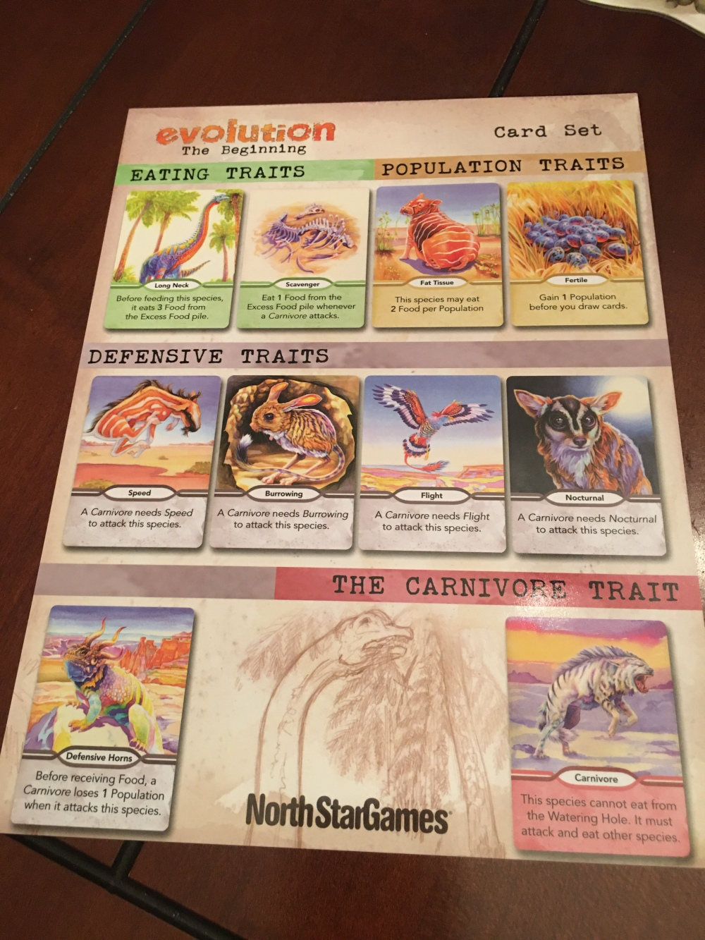 A picture of the guide card showing each of the trait types.