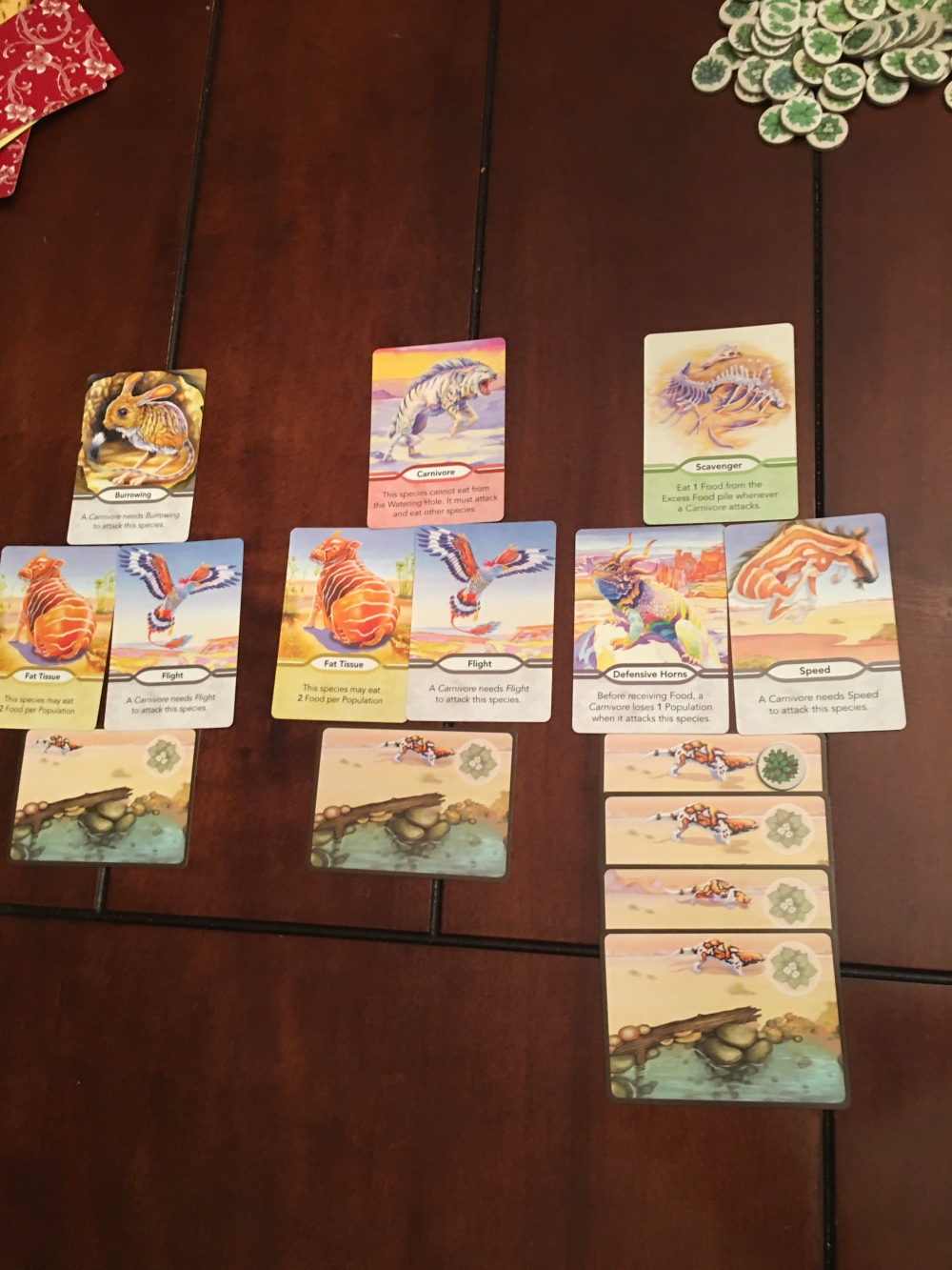 One player's assortment of three different species with varying traits.