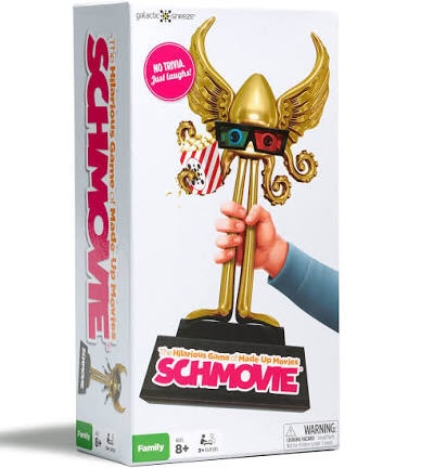 Image Description: the cover of Schmovie with a white hand in a blue sweater clutching a golden Cthulhu with 3D glasses and a popcorn bag.