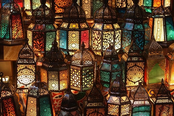 Many ornate lanterns.