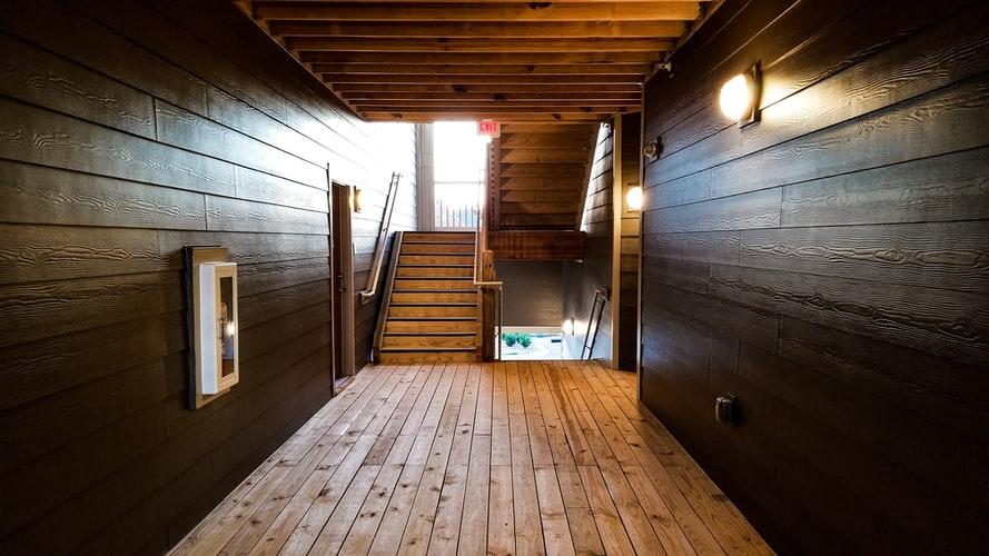 Dark hallway of an apartment building